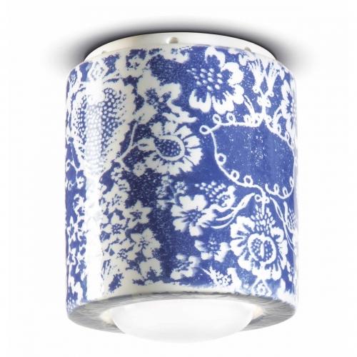 Breites Modell der Deckenlampe mit blauem Dekor