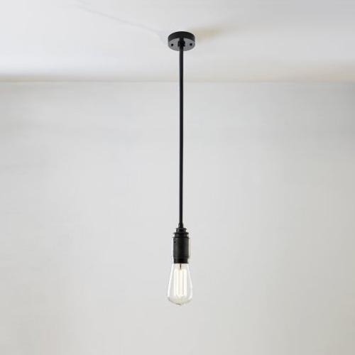 Minimalisitische Fassungsleuchte in schwarz bronzierter Oberfläche, Stablänge 60cm