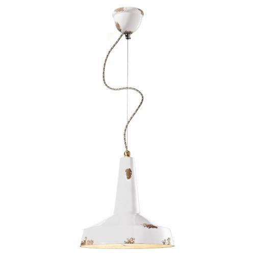 Pendelleuchte im Industriestil in gelber Keramik