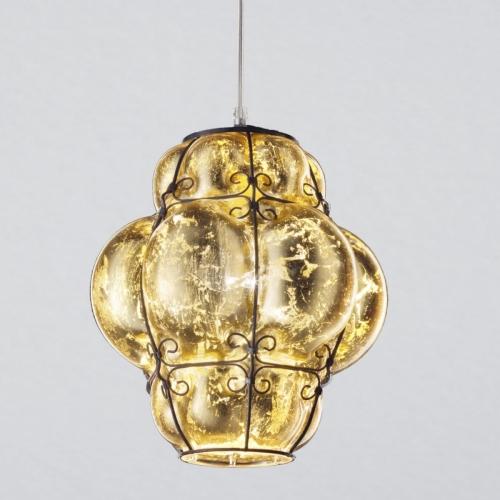 Gewölbte Glaspendelleuchte in Gelbtönen mit Goldbeschichtung