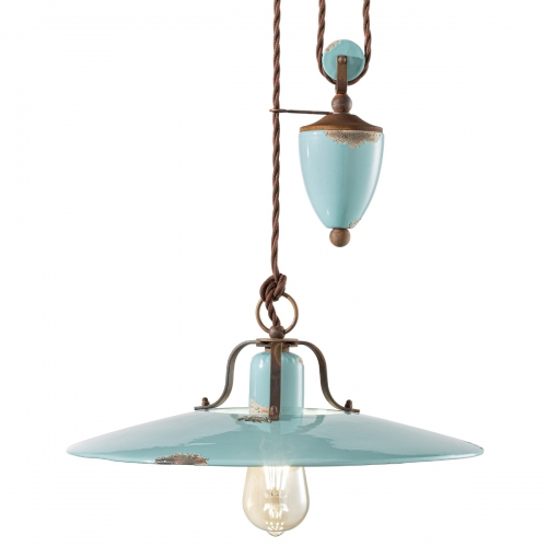 Vintage-Zugpendelleuchte, Keramikfarbe Azurblau