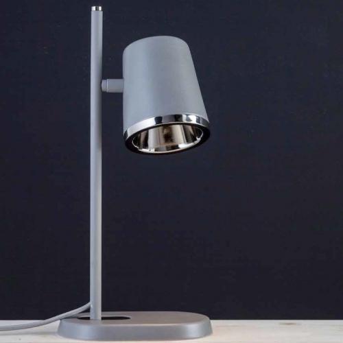 Retro-Tischleuchte im Dekor Grau, kombiniert mit einem Reflektor in Nickel glänzend