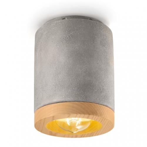 Deckenlampe in Zementfarbe mit Holzeinfassung
