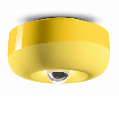 Keramik-Lampe in Zitronengelb
