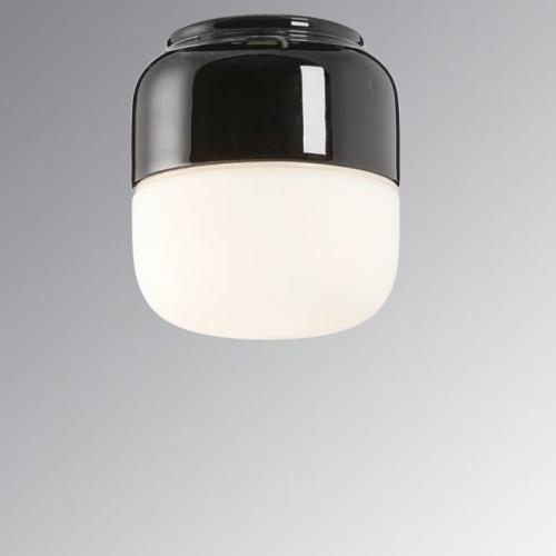 Wand- und Deckenlampe mit Sockel in schwarzer Keramik
