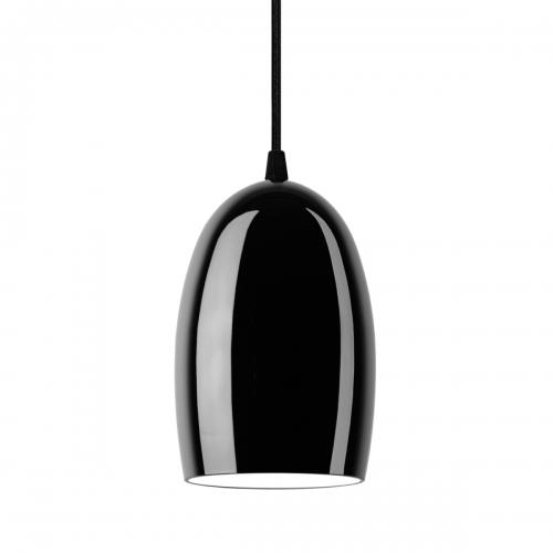 Glaspendelleuchte mit glänzendem schwarzem Schirm und schwarzer Aufhängung