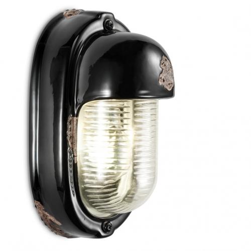 Wandlampe in schwarzer Glasur