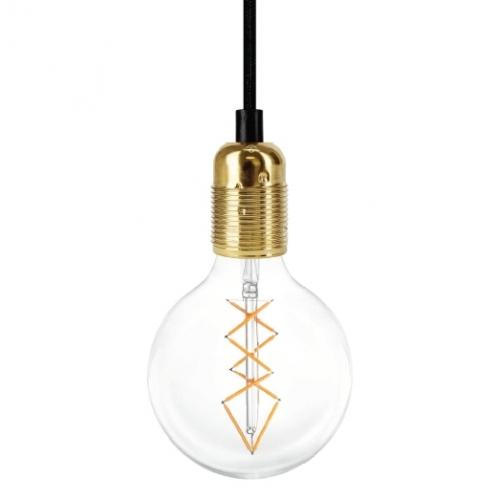 Schnurpendellampe mit Fassung in Messing und LED-Filament-Glühlampe