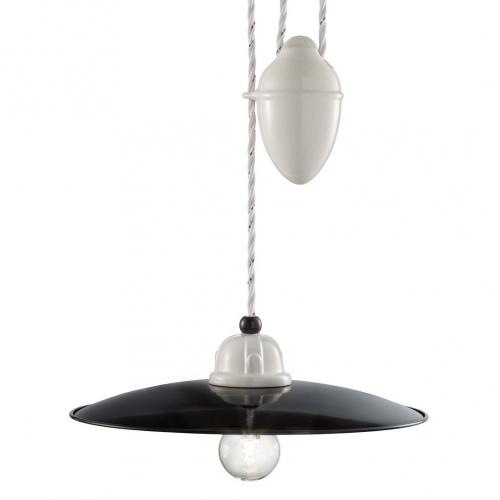 Zugpendelleuchte mit schwarz-weißem Schirm, Durchmesser 30cm