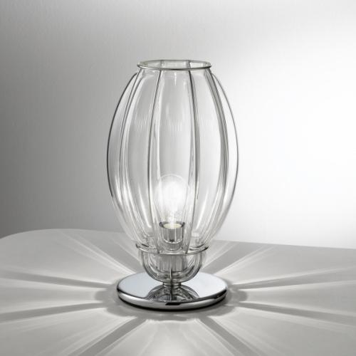 Moderne kleine Tischleuchte aus transparentem Glas