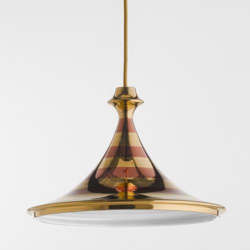 Pendelleuchte mit Beschichtung in Kupfer und Gold und goldenem Textilkabel