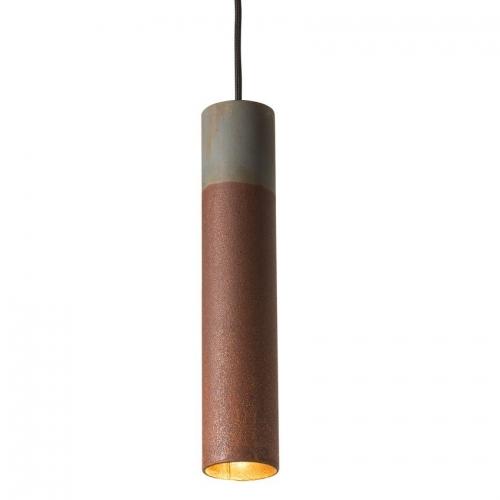 Rohr-Hängelampe in Zink und Eisen rost, mittleres Modell