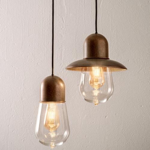 Vintage-Messinglampe mit Glassturz