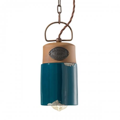 Vintage-Leuchte im Industrie-Stil, Keramik Petrolgrün, mit LED-Filament-Leuchtmittel