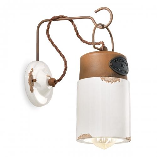 Vintage-Wandleuchte im Industrie-Stil, Keramik Weiß, mit LED-Filament-Leuchtmittel