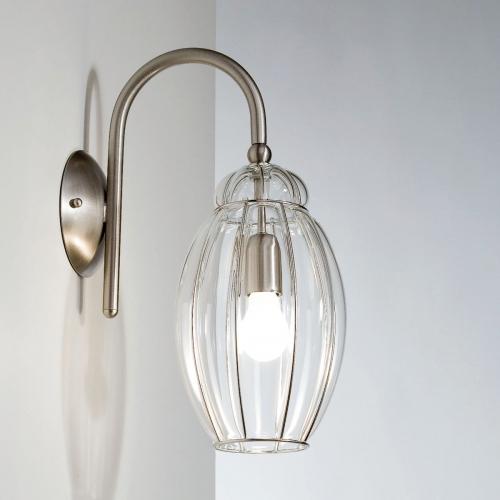 Venezianische Wandlampe mit Schirm aus klarem Muranoglas