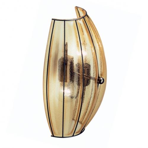 Wandfluter mit Amber-Glas und schwarzer Halterung