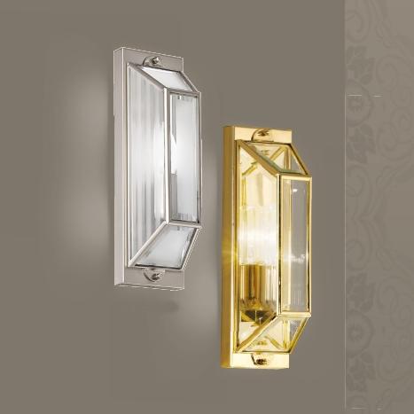 Kleine Modell der Wandlaterne in Nickel matt und satinierten sowie linienweise satiniertem Glas, kleines Modell der Wandlaterne in Gold glänzend mit Klarglas