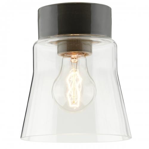 Deckenleucht mit grauem Keramiksockel und transparentem Glasschirm