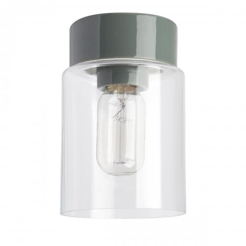 Schlichte Deckenleuchte im skandiniavischen Stil mit grauem Keramiksockel und transparentem Zylinder-Glas