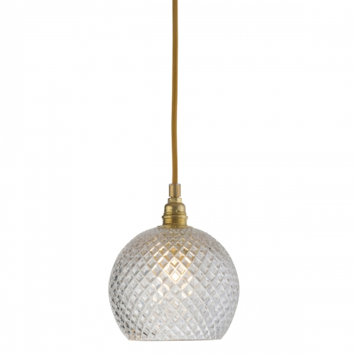 Pendelleuchte mit klein gemustertem Kugelglas, Gold-Aufhängung