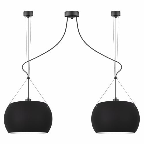 Zweiflammige Pendelleuchte mit schwarz matten Schirmen und schwarzen Komponenten