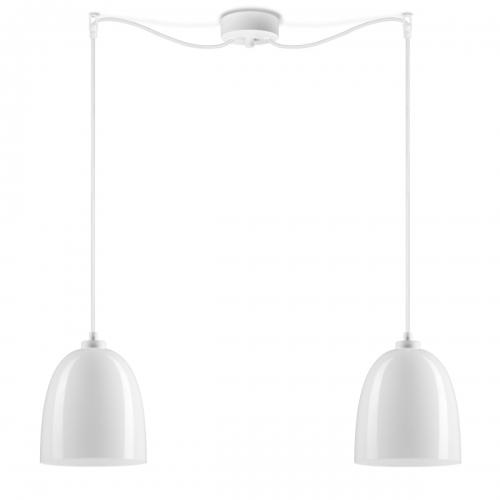 Zweiflammige Leuchte mit glänzenden weißen Schirmen, weiße Aufhängung