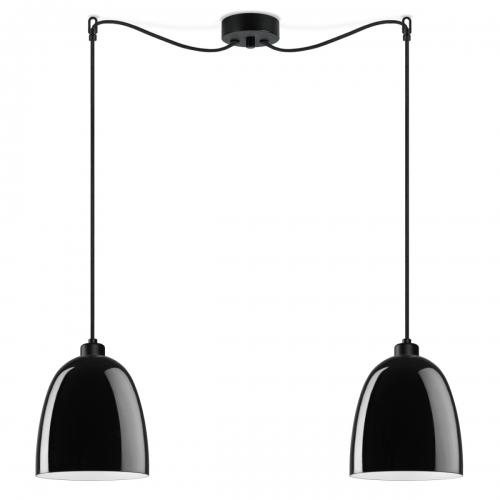 Zweiflammige Leuchte mit glänzenden schwarzen Schirmen, schwarze Aufhängung