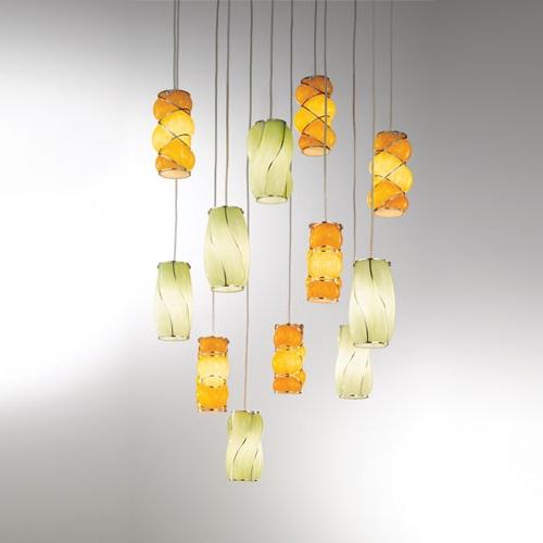 Zwölfflammige Pendelleuchte mit farbigen Muranoglasschirmen