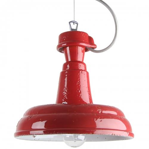 Kleines Modell der Fabriklampe in karminroter Keramik