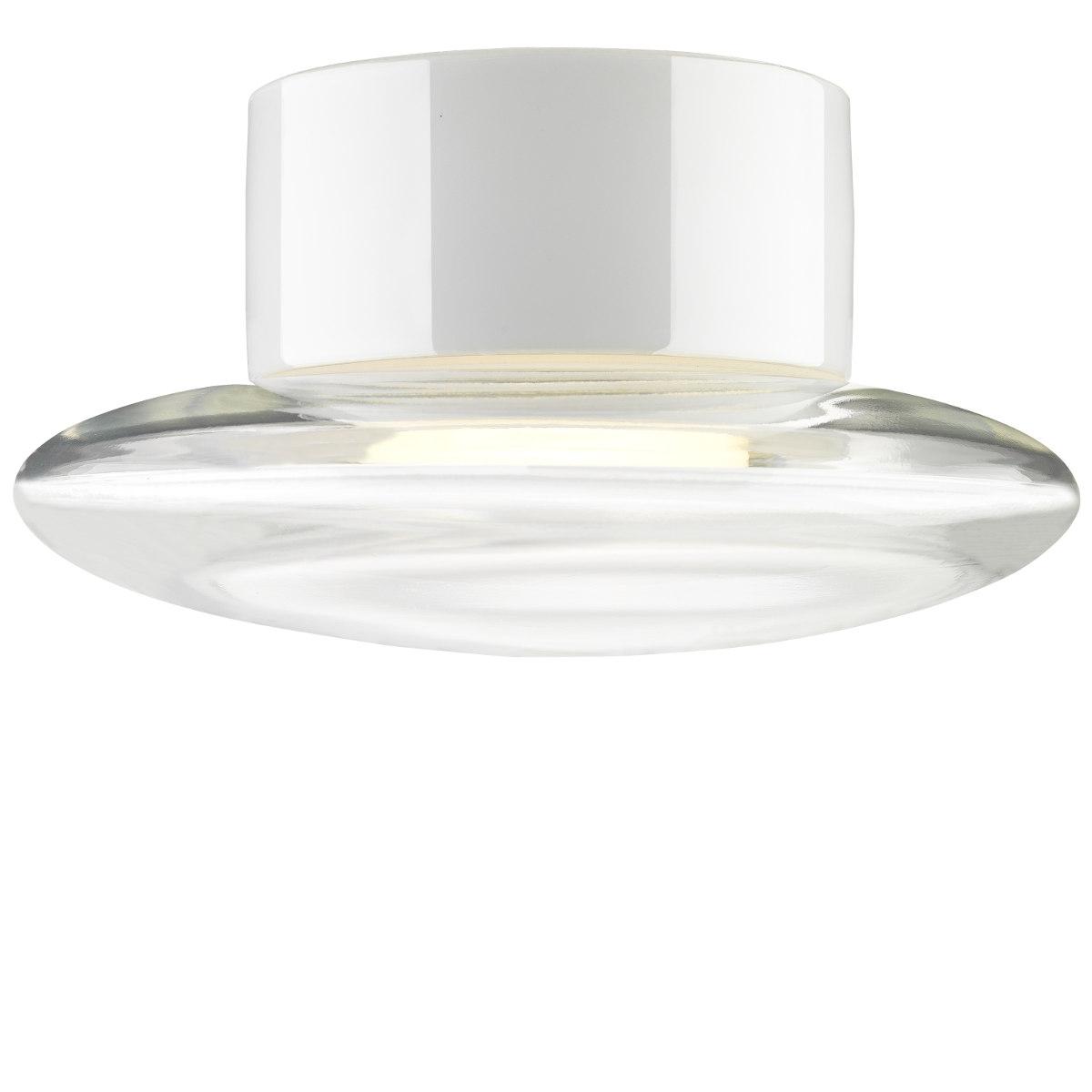 moderne badlampe mit glasschirm  einer keramikhalterung
